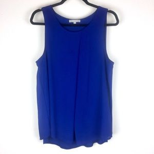 Joan Vass Sleeveless Pleated Blue Top